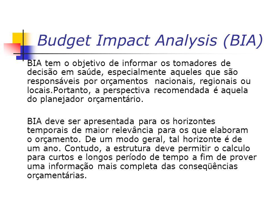 Budget Impact Analysis (BIA) BIA tem o objetivo de informar os tomadores de decisão em sa ú de, especialmente aqueles que são respons á veis por or ç