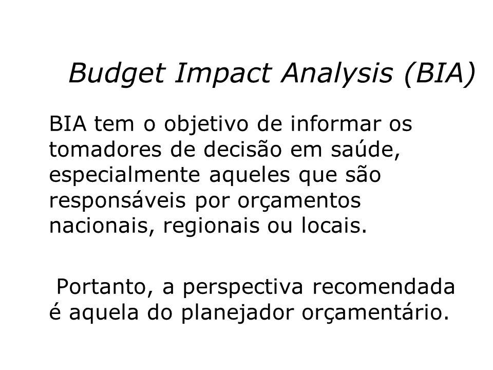 Budget Impact Analysis (BIA) BIA tem o objetivo de informar os tomadores de decisão em saúde, especialmente aqueles que são responsáveis por orçamento