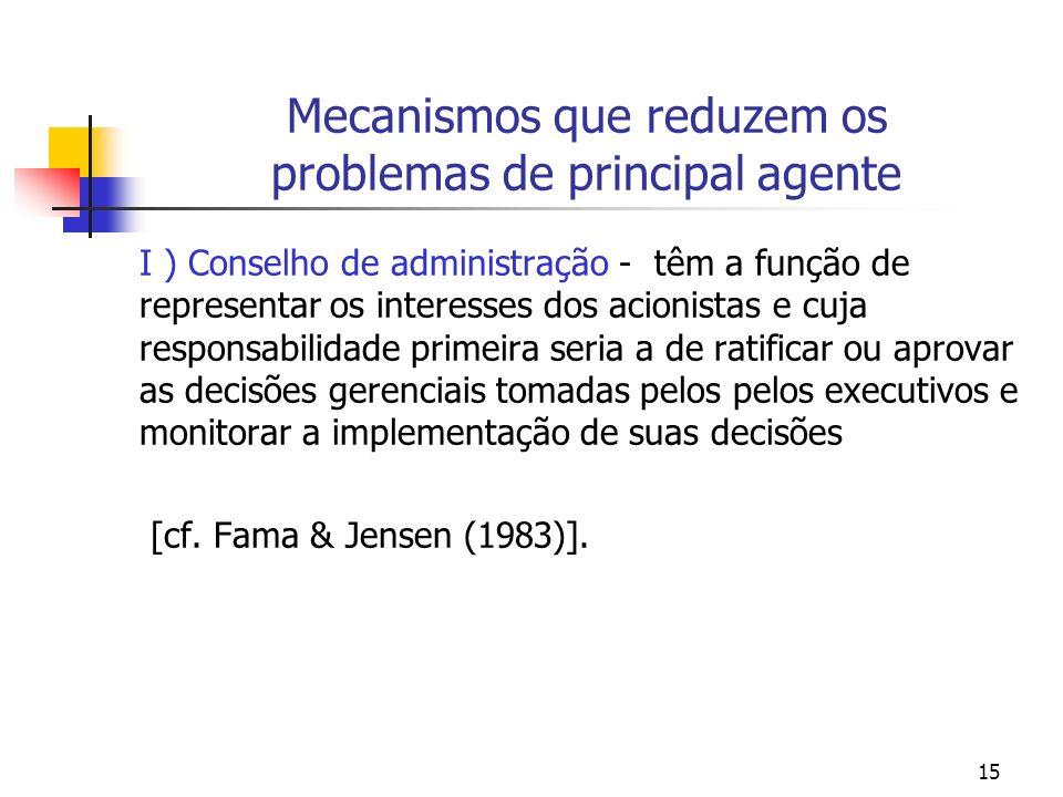 15 Mecanismos que reduzem os problemas de principal agente I ) Conselho de administração - têm a função de representar os interesses dos acionistas e