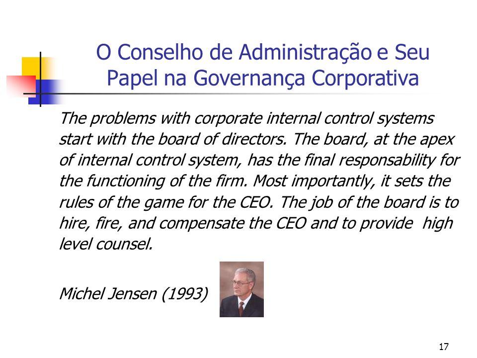 17 O Conselho de Administração e Seu Papel na Governança Corporativa The problems with corporate internal control systems start with the board of dire