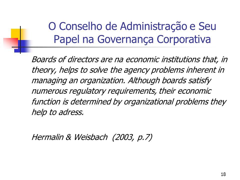 18 O Conselho de Administração e Seu Papel na Governança Corporativa Boards of directors are na economic institutions that, in theory, helps to solve