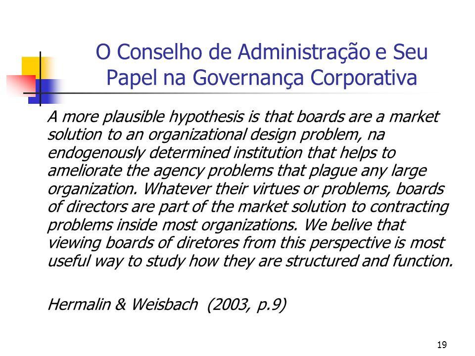 19 O Conselho de Administração e Seu Papel na Governança Corporativa A more plausible hypothesis is that boards are a market solution to an organizati