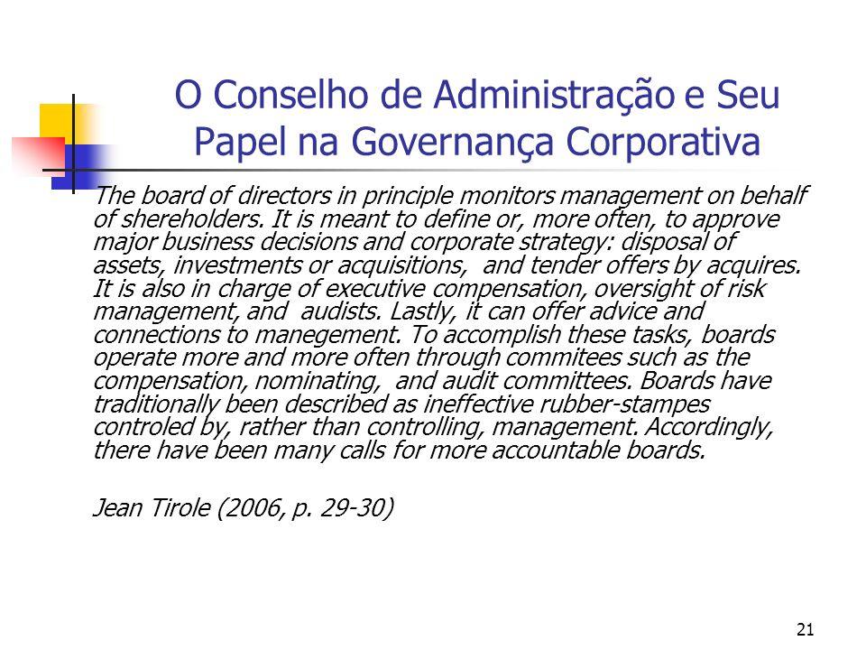 21 O Conselho de Administração e Seu Papel na Governança Corporativa The board of directors in principle monitors management on behalf of shereholders