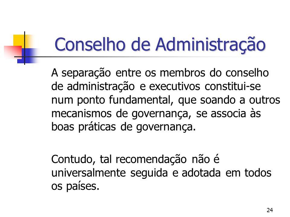 24 Conselho de Administração A separação entre os membros do conselho de administração e executivos constitui-se num ponto fundamental, que soando a o