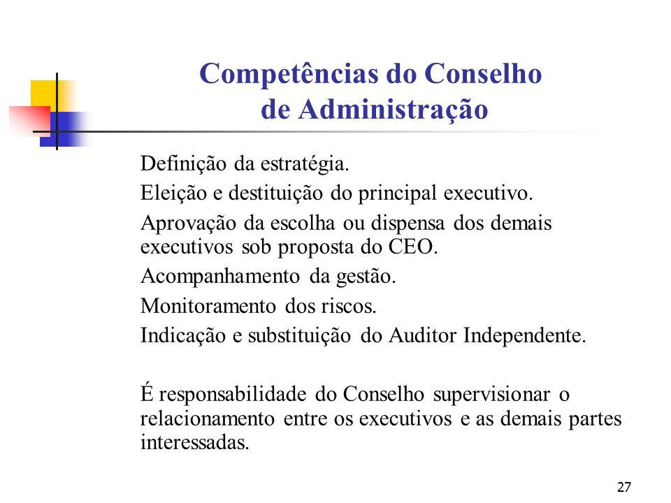 27 Competências do Conselho de Administração Definição da estratégia. Eleição e destituição do principal executivo. Aprovação da escolha ou dispensa d