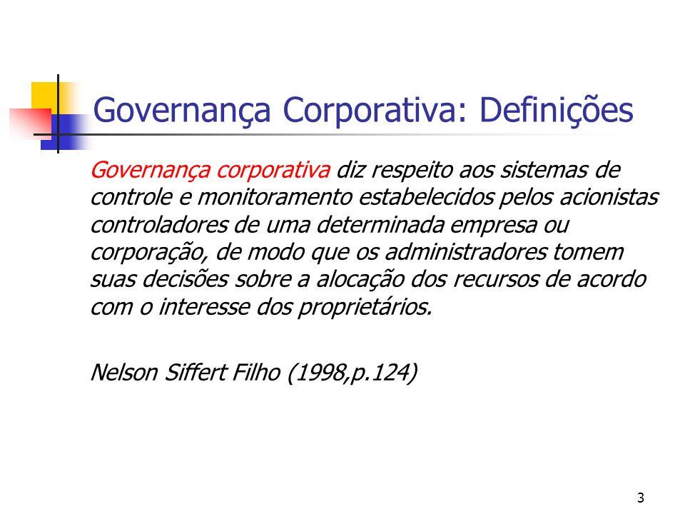 3 Governança Corporativa: Definições Governança corporativa diz respeito aos sistemas de controle e monitoramento estabelecidos pelos acionistas contr