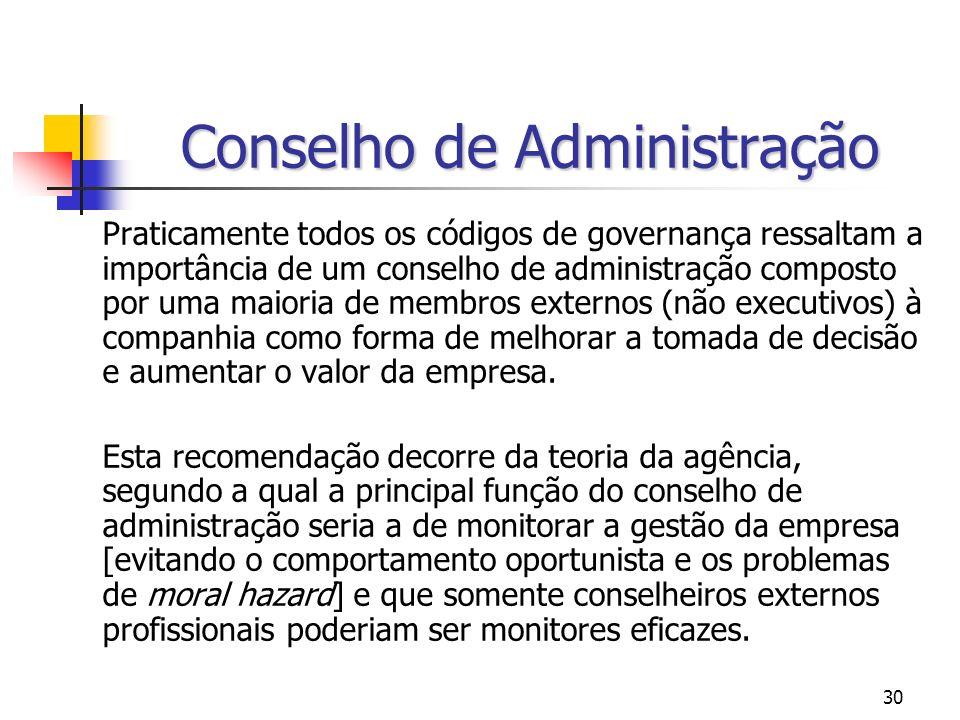 30 Conselho de Administração Praticamente todos os códigos de governança ressaltam a importância de um conselho de administração composto por uma maio