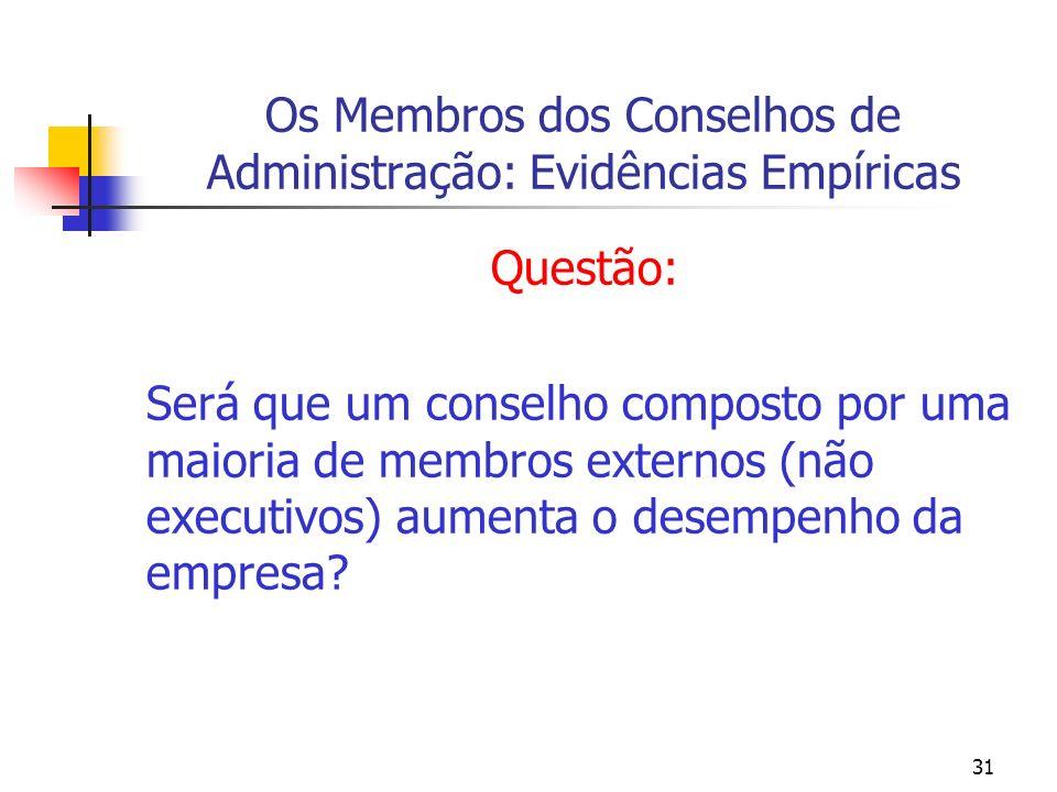 31 Os Membros dos Conselhos de Administração: Evidências Empíricas Questão: Será que um conselho composto por uma maioria de membros externos (não exe