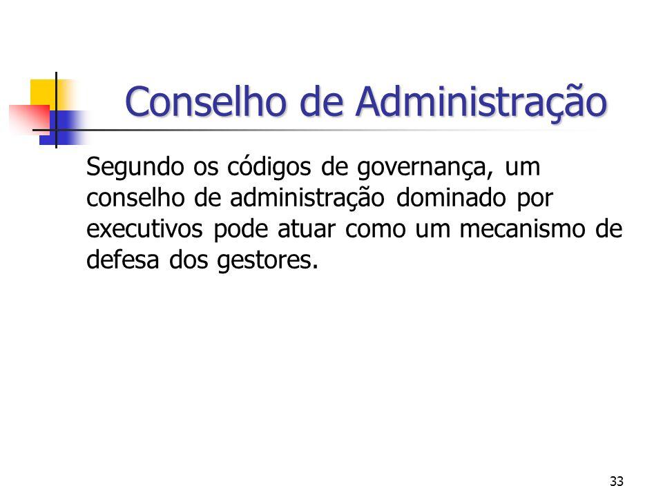 33 Conselho de Administração Segundo os códigos de governança, um conselho de administração dominado por executivos pode atuar como um mecanismo de de