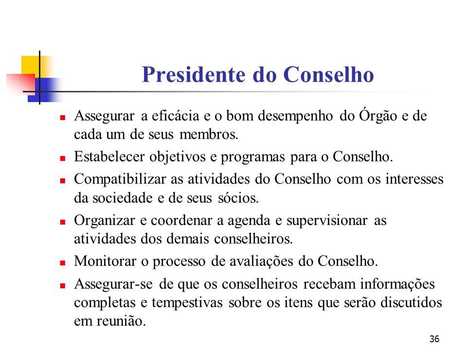 36 Presidente do Conselho Assegurar a eficácia e o bom desempenho do Órgão e de cada um de seus membros. Estabelecer objetivos e programas para o Cons