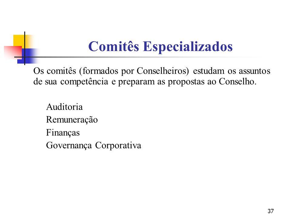 37 Comitês Especializados Os comitês (formados por Conselheiros) estudam os assuntos de sua competência e preparam as propostas ao Conselho. Auditoria