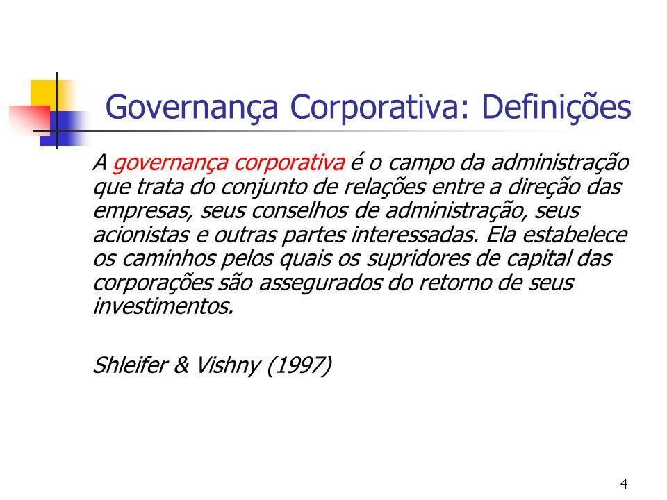 4 Governança Corporativa: Definições A governança corporativa é o campo da administração que trata do conjunto de relações entre a direção das empresa