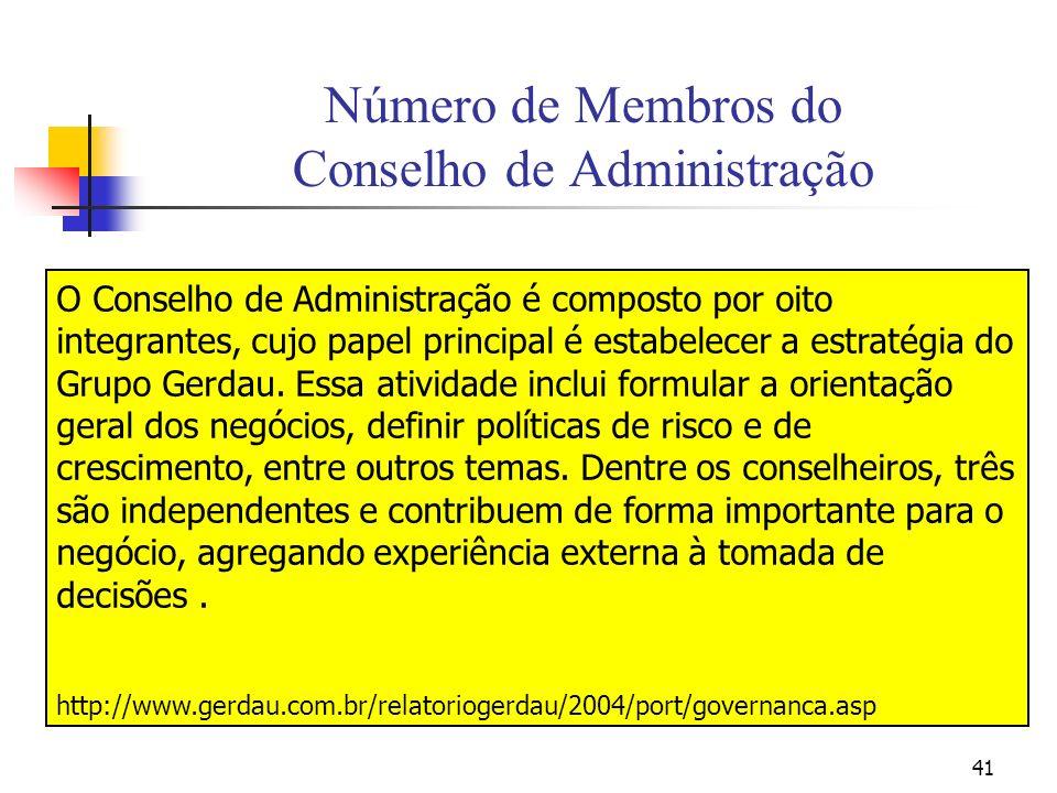 41 Número de Membros do Conselho de Administração O Conselho de Administração é composto por oito integrantes, cujo papel principal é estabelecer a es