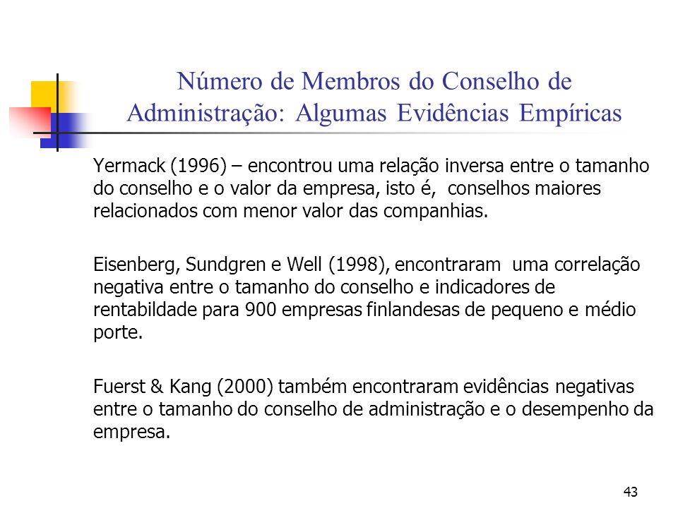 43 Número de Membros do Conselho de Administração: Algumas Evidências Empíricas Yermack (1996) – encontrou uma relação inversa entre o tamanho do cons