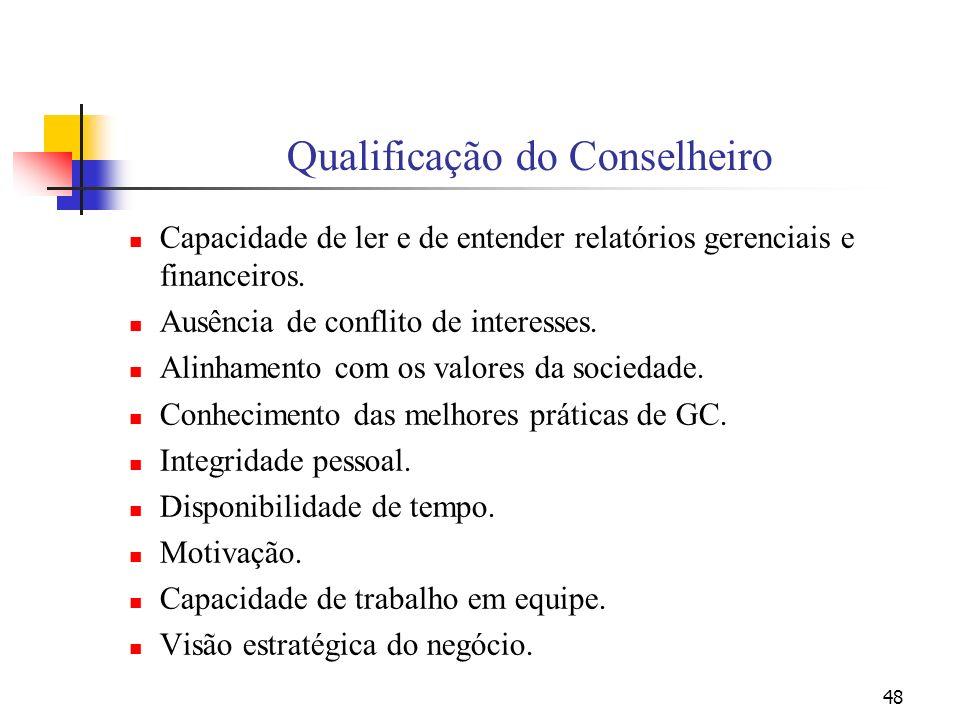 48 Qualificação do Conselheiro Capacidade de ler e de entender relatórios gerenciais e financeiros. Ausência de conflito de interesses. Alinhamento co