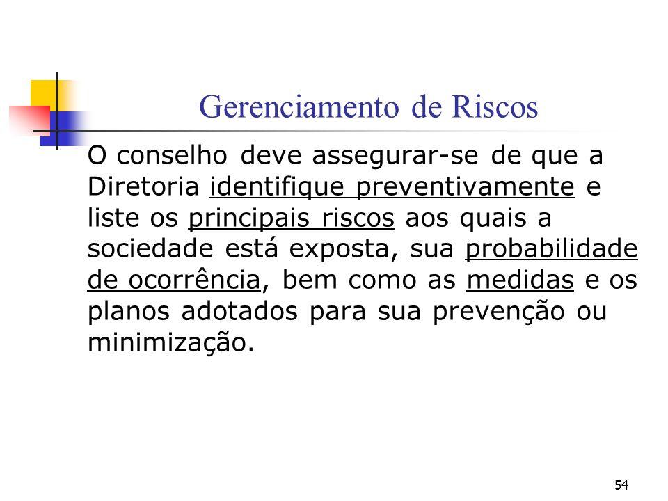 54 Gerenciamento de Riscos O conselho deve assegurar-se de que a Diretoria identifique preventivamente e liste os principais riscos aos quais a socied