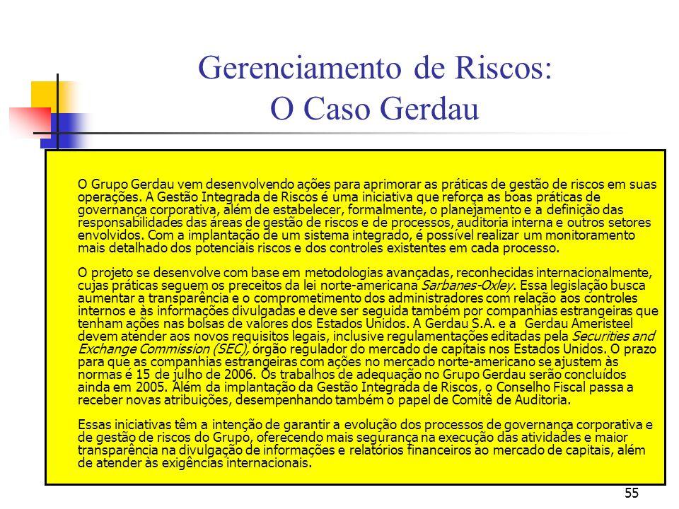 55 Gerenciamento de Riscos: O Caso Gerdau O Grupo Gerdau vem desenvolvendo ações para aprimorar as práticas de gestão de riscos em suas operações. A G