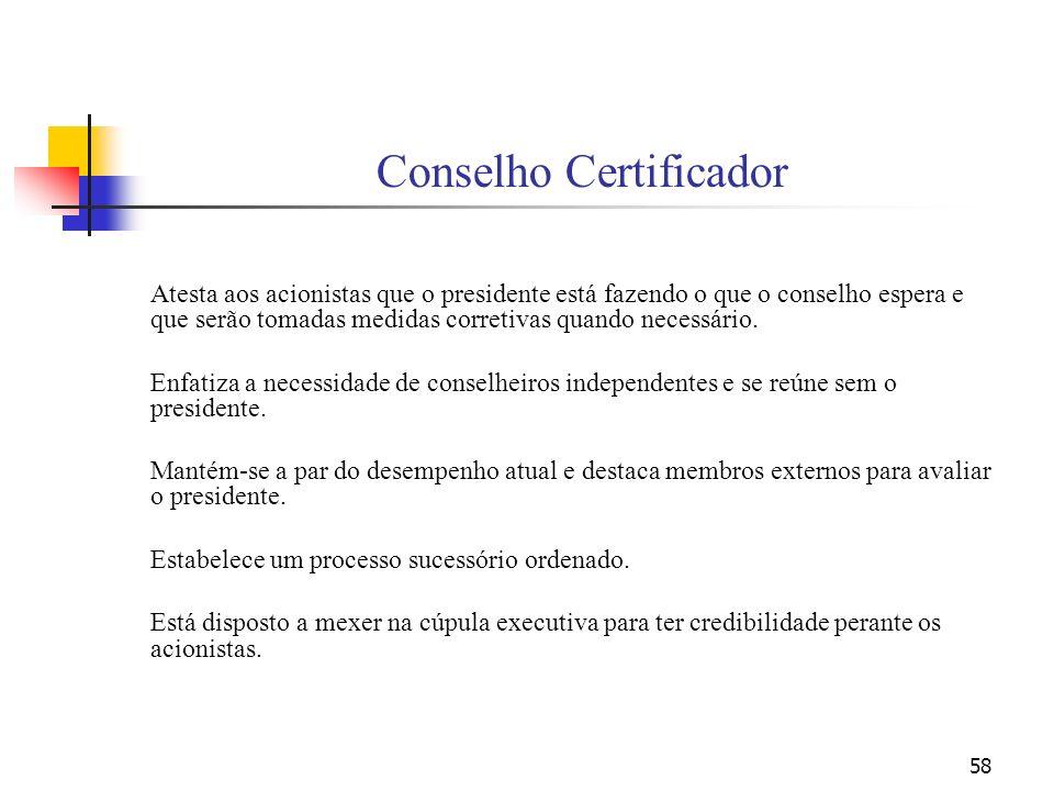 58 Conselho Certificador Atesta aos acionistas que o presidente está fazendo o que o conselho espera e que serão tomadas medidas corretivas quando nec