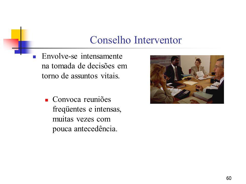 60 Conselho Interventor Envolve-se intensamente na tomada de decisões em torno de assuntos vitais. Convoca reuniões freqüentes e intensas, muitas veze
