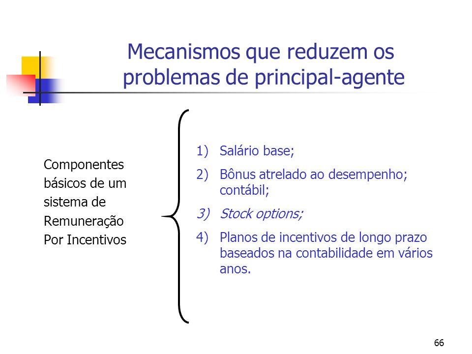 66 Mecanismos que reduzem os problemas de principal-agente Componentes básicos de um sistema de Remuneração Por Incentivos 1)Salário base; 2)Bônus atr