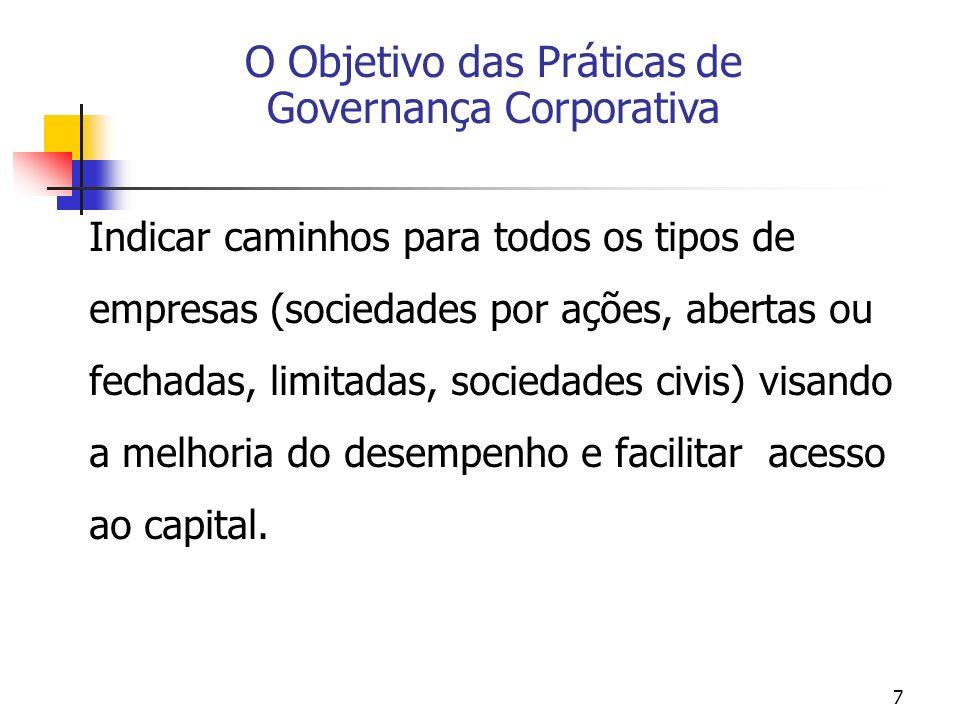 7 Indicar caminhos para todos os tipos de empresas (sociedades por ações, abertas ou fechadas, limitadas, sociedades civis) visando a melhoria do dese