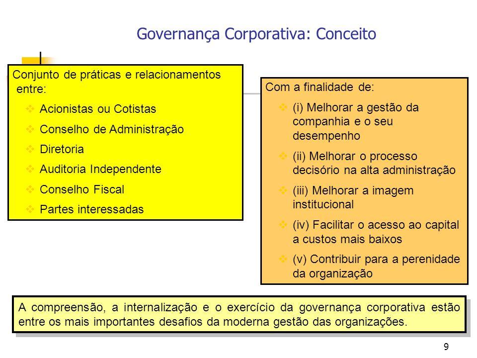 9 Com a finalidade de: (i) Melhorar a gestão da companhia e o seu desempenho (ii) Melhorar o processo decisório na alta administração (iii) Melhorar a