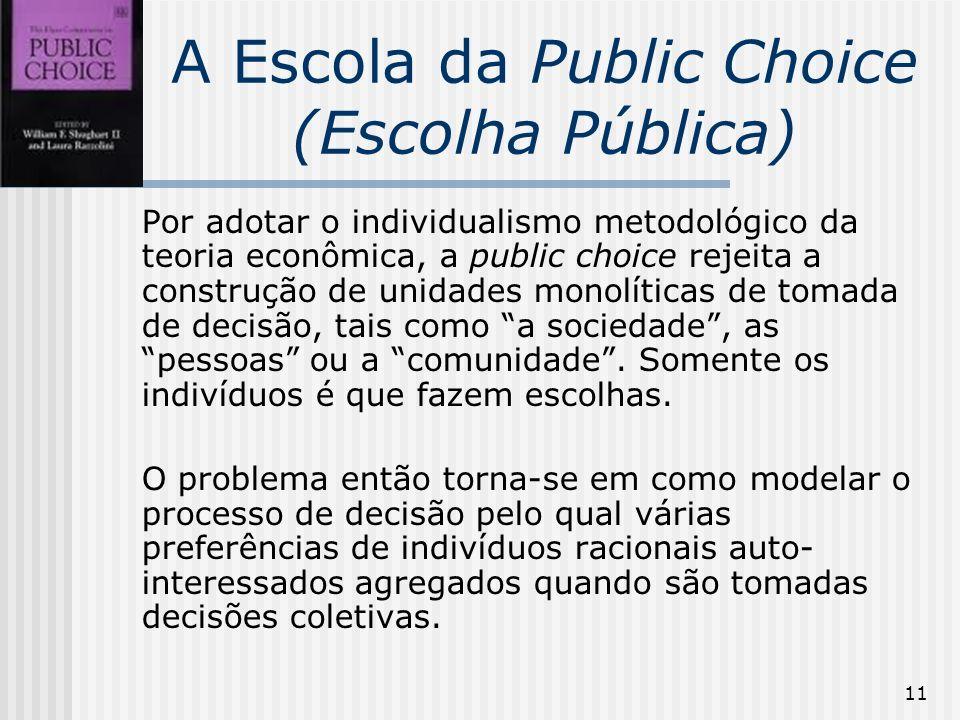11 A Escola da Public Choice (Escolha Pública) Por adotar o individualismo metodológico da teoria econômica, a public choice rejeita a construção de unidades monolíticas de tomada de decisão, tais como a sociedade, as pessoas ou a comunidade.