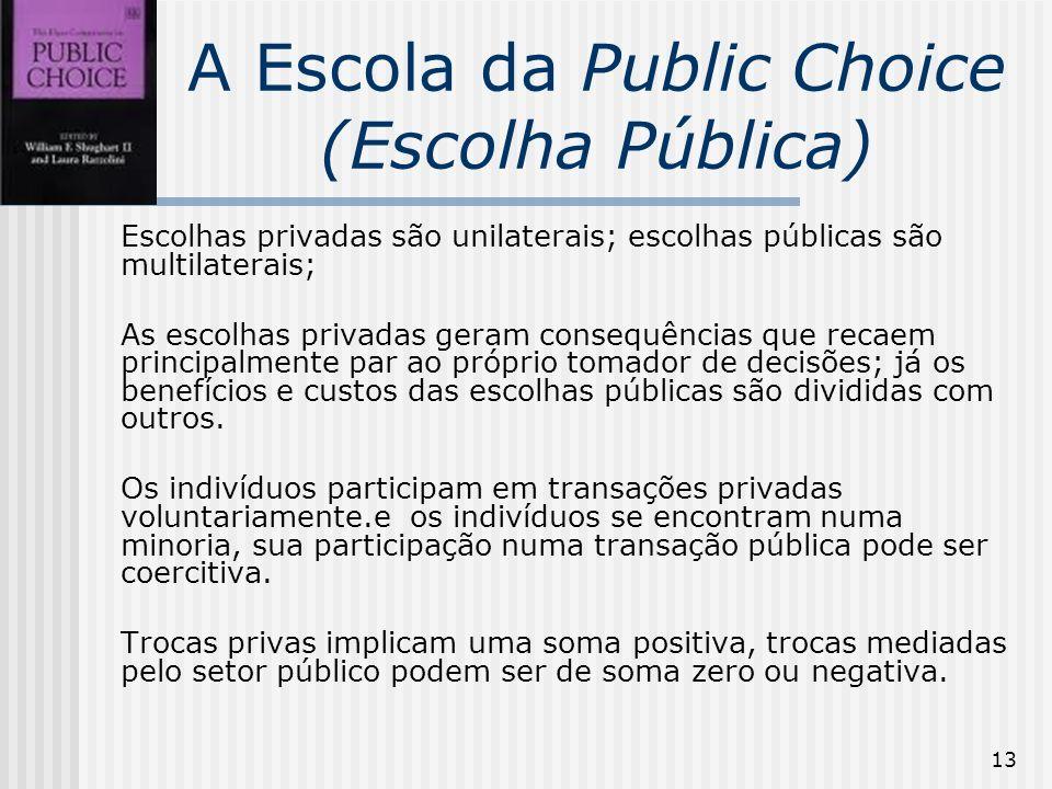 13 A Escola da Public Choice (Escolha Pública) Escolhas privadas são unilaterais; escolhas públicas são multilaterais; As escolhas privadas geram consequências que recaem principalmente par ao próprio tomador de decisões; já os benefícios e custos das escolhas públicas são divididas com outros.