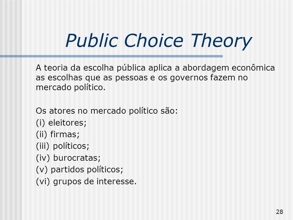 28 Public Choice Theory A teoria da escolha pública aplica a abordagem econômica as escolhas que as pessoas e os governos fazem no mercado político.