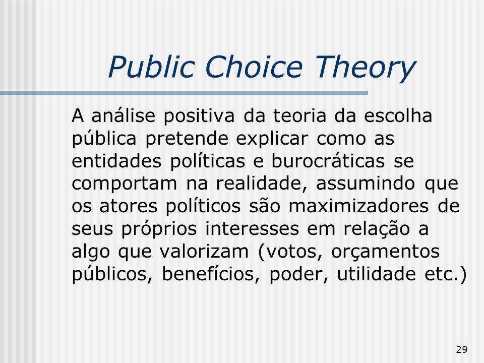 29 Public Choice Theory A análise positiva da teoria da escolha pública pretende explicar como as entidades políticas e burocráticas se comportam na realidade, assumindo que os atores políticos são maximizadores de seus próprios interesses em relação a algo que valorizam (votos, orçamentos públicos, benefícios, poder, utilidade etc.)