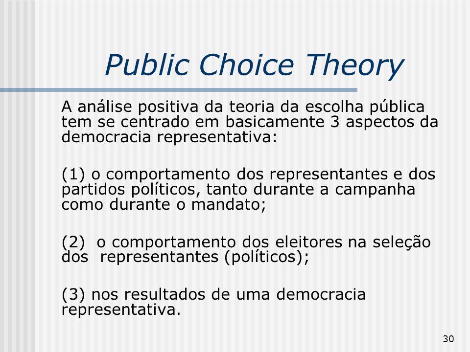 30 Public Choice Theory A análise positiva da teoria da escolha pública tem se centrado em basicamente 3 aspectos da democracia representativa: (1) o comportamento dos representantes e dos partidos políticos, tanto durante a campanha como durante o mandato; (2) o comportamento dos eleitores na seleção dos representantes (políticos); (3) nos resultados de uma democracia representativa.
