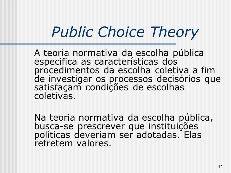 31 Public Choice Theory A teoria normativa da escolha pública especifica as características dos procedimentos da escolha coletiva a fim de investigar os processos decisórios que satisfaçam condições de escolhas coletivas.