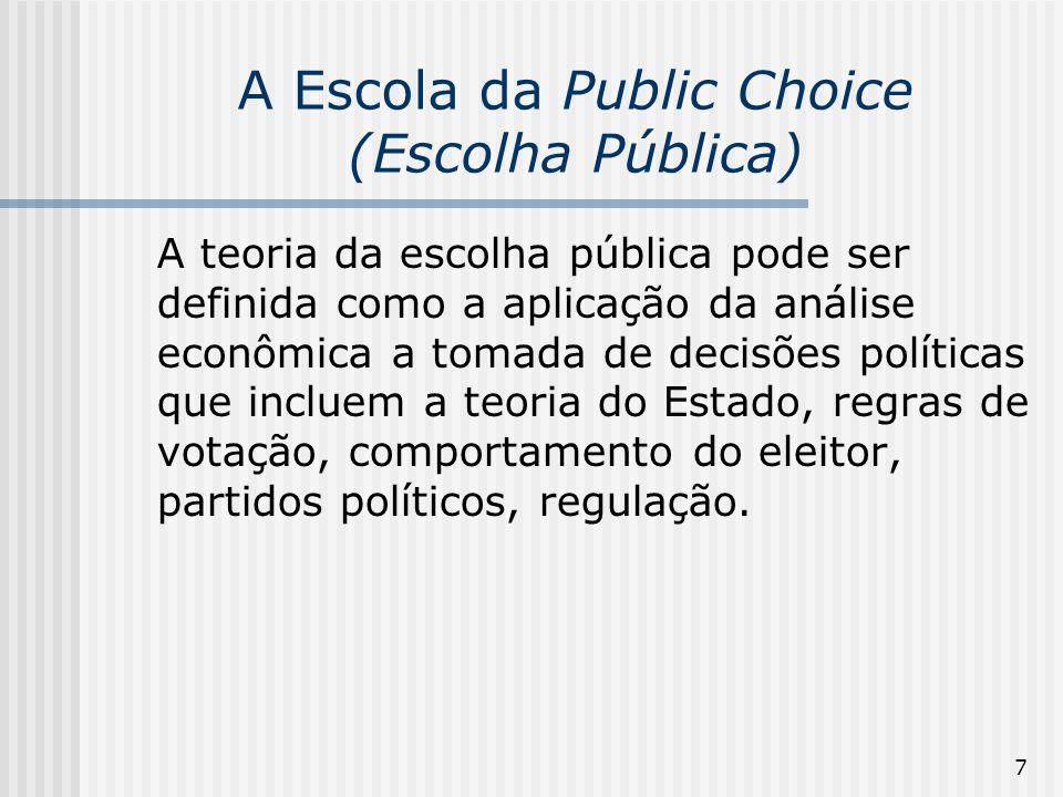 8 A Escola da Public Choice (Escolha Pública) Segundo Medema & Mercuro (1997, p.84), a public choice constitui-se numa abordagem da Law & Economics que se concentra predominantemente sobre a criação e implementação das leis que correm principalmente atrevés do processo politico.