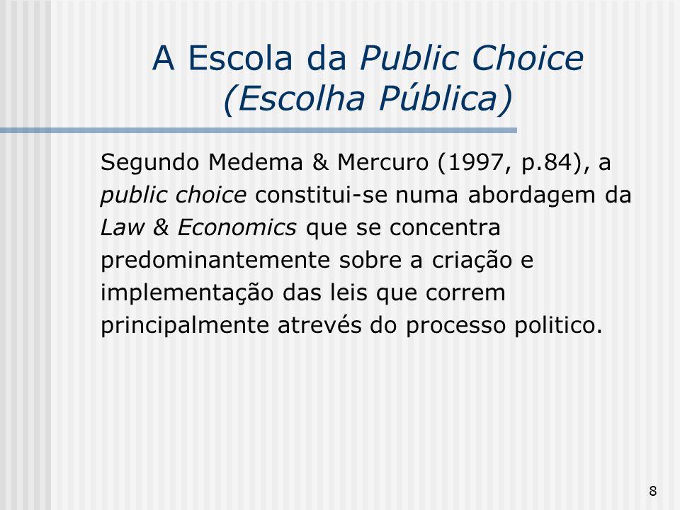 9 A Escola da Public Choice (Escolha Pública) A análise econômica é estendida a tomada de decições não mercado (nonmarket decisionmaking): teoria do estado, regras de votação, escohas burocráticas, regulação, corrupção, lobbies etc.