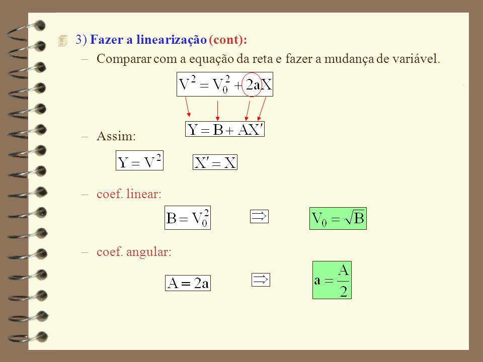 4 3) Fazer a linearização (cont): –Comparar com a equação da reta e fazer a mudança de variável. –Assim: –coef. linear: –coef. angular: