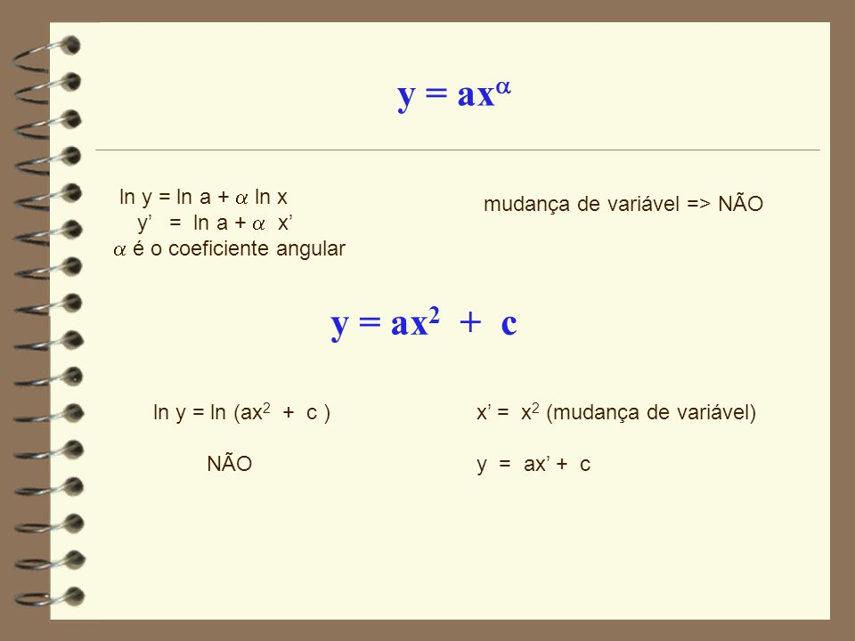ln y = ln a + ln x y = ln a + x é o coeficiente angular mudança de variável => NÃO y = ax 2 + c ln y = ln (ax 2 + c ) NÃO x = x 2 (mudança de variável