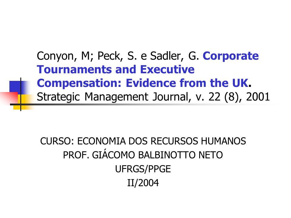 2 Corporate Tournaments & Executive Compensation Objetivo do artigo Testar as predições da teoria de torneios existentes na literatura (Eriksson(1999), Lazear (1995), Main, O´Reilly & Wade (1993) e Predergast (1999)), em particular nas três proposições...