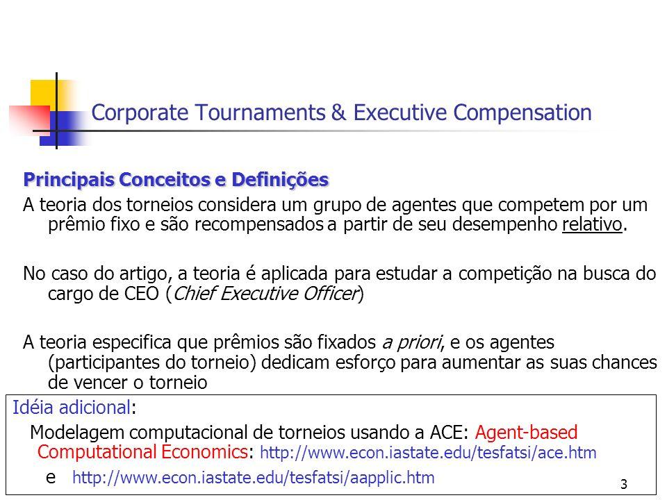 14 Corporate Tournaments & Executive Compensation Hipótese 2 Hipótese 2 (o prêmio do torneio e a quantidade de participantes estão positivamente correlacionados) mediram o tamanho relativo do prêmio por ser o CEO: log (salário em $ do CEO) - log (salário médio de todos os outros) log (incentivos do CEO) - log (incentivos médio de todos os outros) log (remuneração total do CEO) - log (remuneração total média de todos os outros) os resultados variam de acordo com as formas de remuneração não é significante para o incentivos (stock options), e por isso, a hipótese 2 é parcialmente suportada