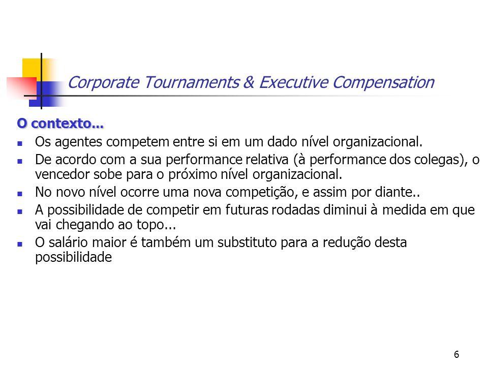 6 Corporate Tournaments & Executive Compensation O contexto... Os agentes competem entre si em um dado nível organizacional. De acordo com a sua perfo