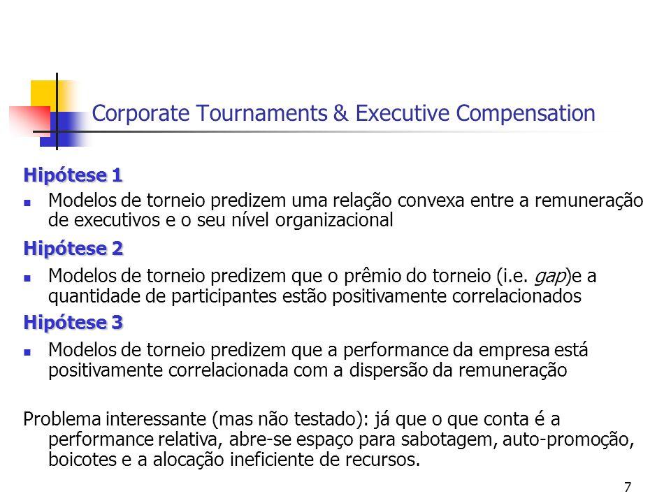 7 Corporate Tournaments & Executive Compensation Hipótese 1 Modelos de torneio predizem uma relação convexa entre a remuneração de executivos e o seu nível organizacional Hipótese 2 Modelos de torneio predizem que o prêmio do torneio (i.e.