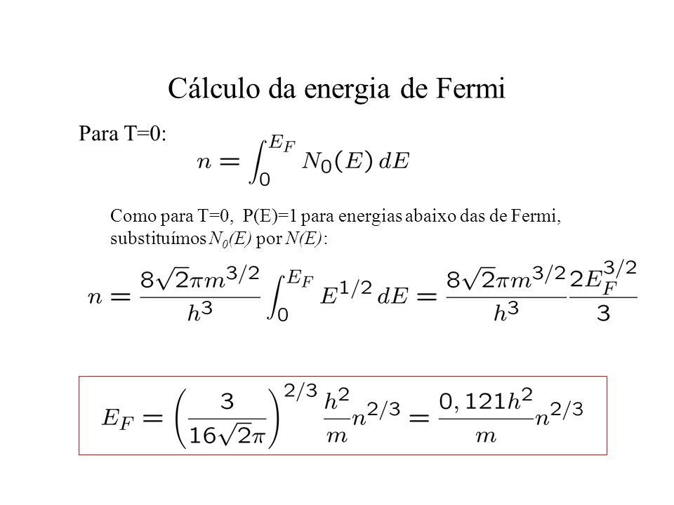 Cálculo da energia de Fermi Como para T=0, P(E)=1 para energias abaixo das de Fermi, substituímos N 0 (E) por N(E): Para T=0: