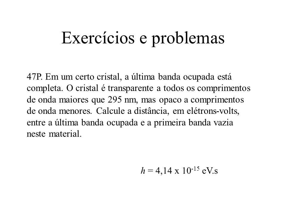 Exercícios e problemas 47P. Em um certo cristal, a última banda ocupada está completa. O cristal é transparente a todos os comprimentos de onda maiore