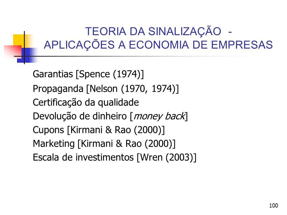 100 TEORIA DA SINALIZAÇÃO - APLICAÇÕES A ECONOMIA DE EMPRESAS Garantias [Spence (1974)] Propaganda [Nelson (1970, 1974)] Certificação da qualidade Dev