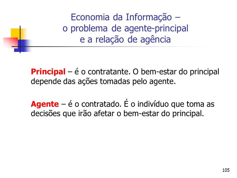 105 Economia da Informação – o problema de agente-principal e a relação de agência Principal – é o contratante. O bem-estar do principal depende das a