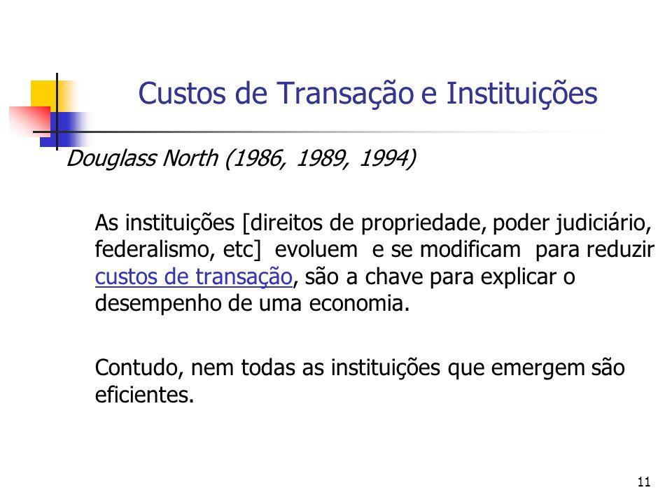 11 Custos de Transação e Instituições Douglass North (1986, 1989, 1994) As instituições [direitos de propriedade, poder judiciário, federalismo, etc]
