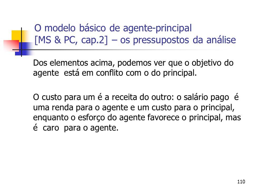 110 O modelo básico de agente-principal [MS & PC, cap.2] – os pressupostos da análise Dos elementos acima, podemos ver que o objetivo do agente está e