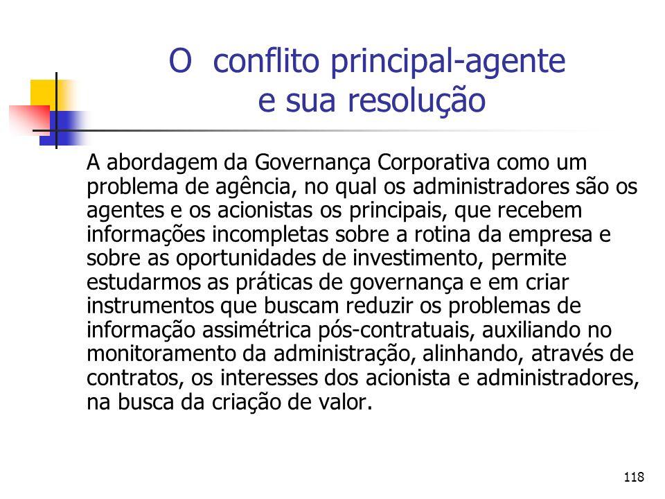 118 O conflito principal-agente e sua resolução A abordagem da Governança Corporativa como um problema de agência, no qual os administradores são os a