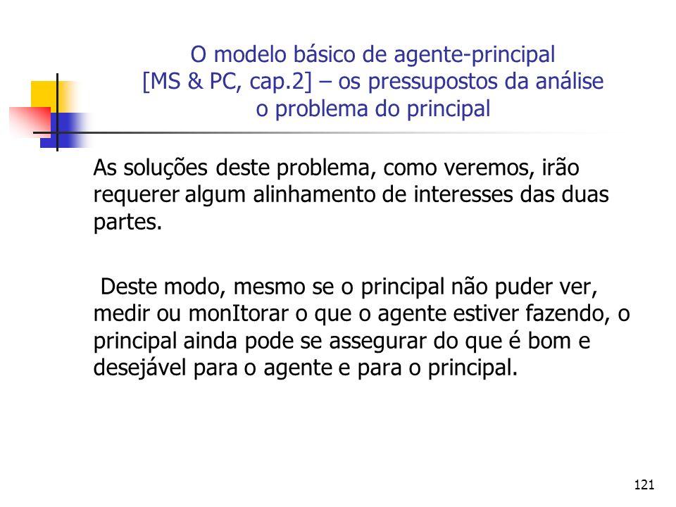 121 O modelo básico de agente-principal [MS & PC, cap.2] – os pressupostos da análise o problema do principal As soluções deste problema, como veremos