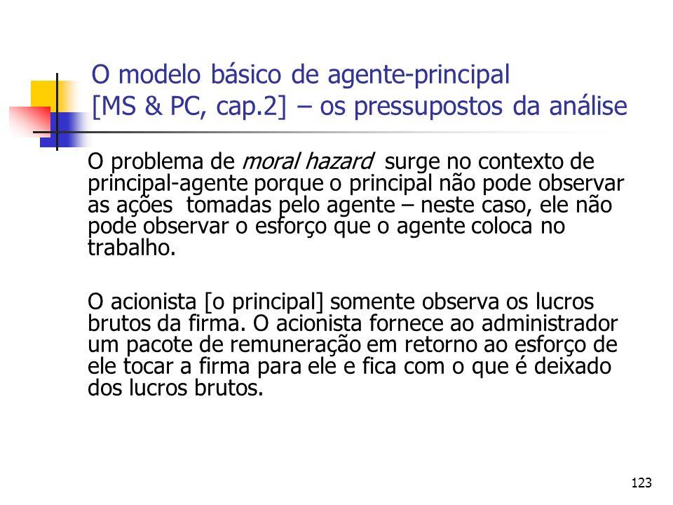 123 O modelo básico de agente-principal [MS & PC, cap.2] – os pressupostos da análise O problema de moral hazard surge no contexto de principal-agente