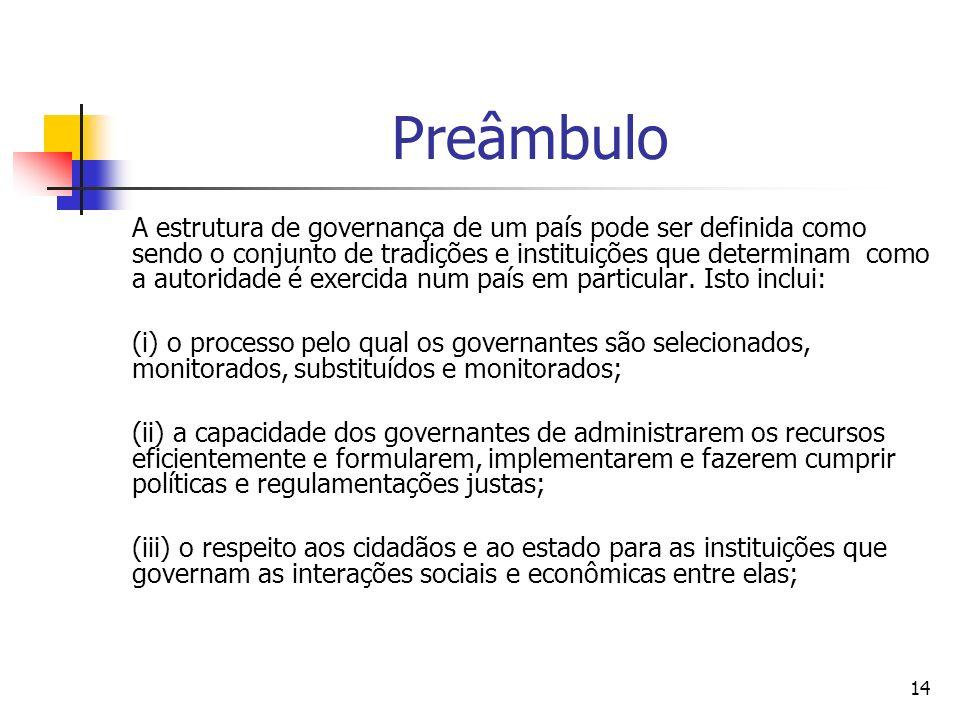 14 Preâmbulo A estrutura de governança de um país pode ser definida como sendo o conjunto de tradições e instituições que determinam como a autoridade